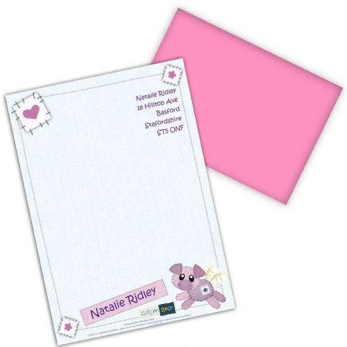 Personalised Cotton Zoo Organza the Piglet Stationery Set